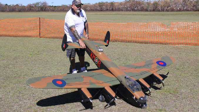 John Larter's electric Lancaster bomber has three-blade propellers, a wing span of 3m and weighs 21kg.
