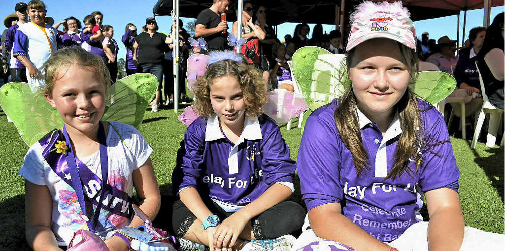 CANCER WARRIORS: Amy Snow, 11, of Fairy Hill, Madison Drum, 12, of Casino, and Chelsea Puxty, 12, of North Casino.