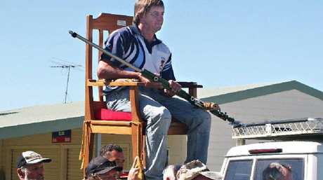 Winner Jim Bailey is chaired in after winning the Queen's Prize shoot at Mt Vince Rifle Range.