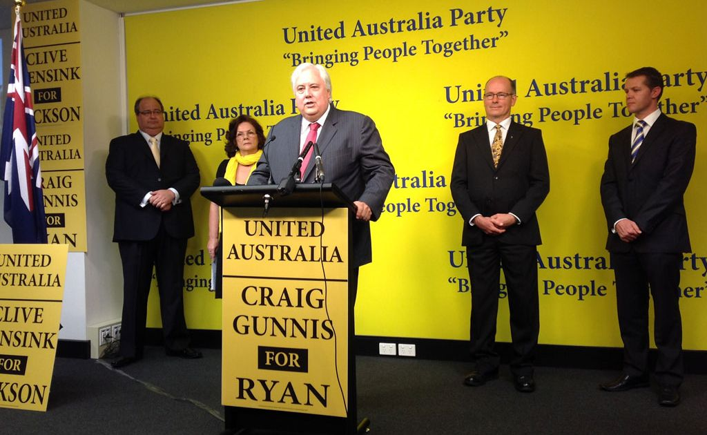 Federal election candidates Clive Mensink, Veronica Ford, Thor Prohaska and Craig Gunnis announce their candidacy with Clive Palmer.