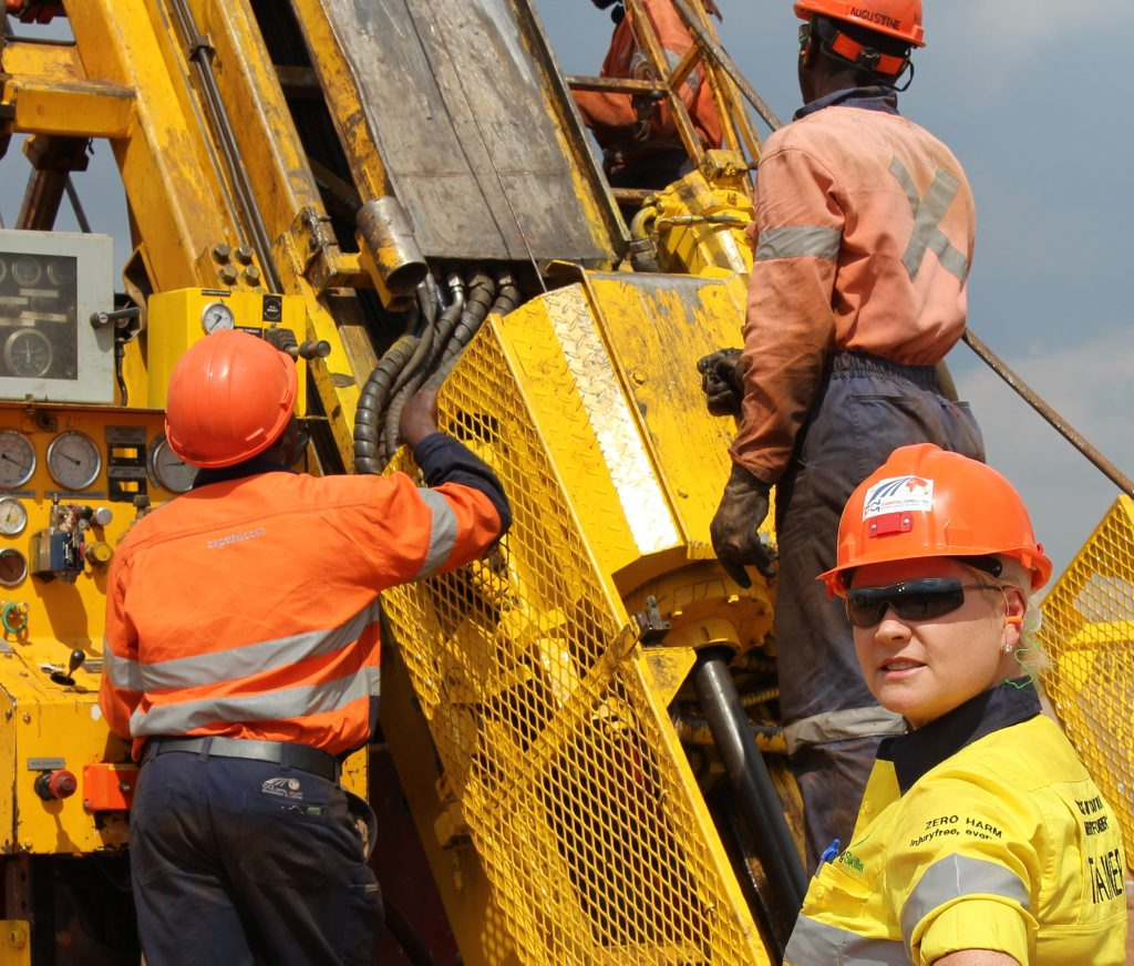 TNT Training Solutions owner Tash Fee training on a drill Rig at Kansanshi Mine Site at Solwezi, Africa.