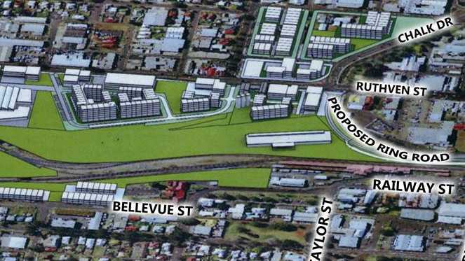 An artist's impression on how the rail yards precinct could look like when completed.