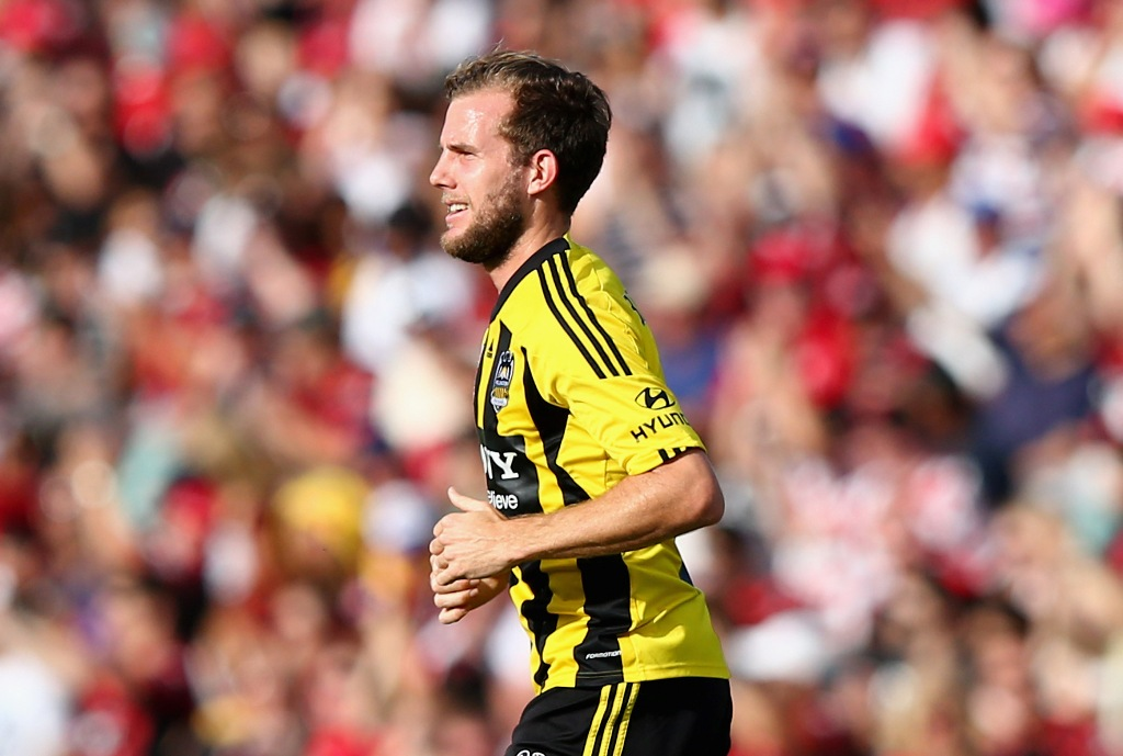Jeremy Brockie of the Phoenix celebrates after scoring his team's first goal during the round 24 A-League match between the Western Sydney Wanderers and the Wellington Phoenix at Parramatta Stadium on March 10, 2013 in Sydney, Australia.