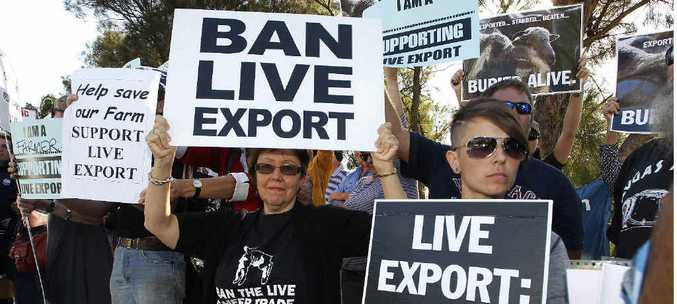 DIVIDED: Protesters wait for Prime Minister Julia Gillard at the 39th community cabinet meeting at Thornlie Senior High School in Perth, on Wednesday, March 27. Groups supporting and opposing live animal exports lined the street outside the school, under the watchful eye of a heavy police presence.