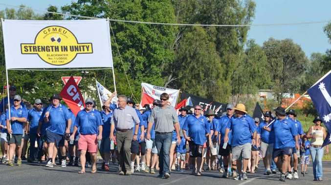 SUPPORT: Union members in Blackwater, marched with pride on Sunday.