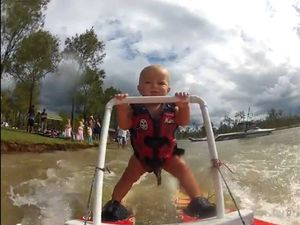Gatton's waterskiing baby notches 400,000 YouTube hits