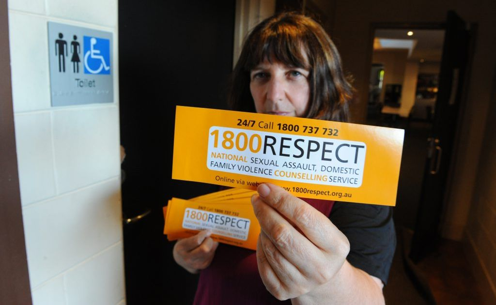 Kathy Prentice is putting up Respect stickers in toilets in pubs and clubs to stop domestic violence.