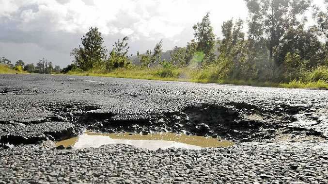 Lismore to Kyogle road is littered with potholes.