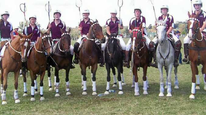 Queensland polocrosse mixed juniors (from left) Grace Young (Chinchilla), Sally Gilbert, Anthony O'Leary, Carly Cooper, Maddie Burton, Tim Forster (all Cunningham), Joel Dunstan (Gold Coast) and Lucas Scobie (Blackall) were runners-up at Albury late last month.