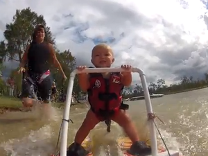Video: Seven-month-old baby learning to waterski