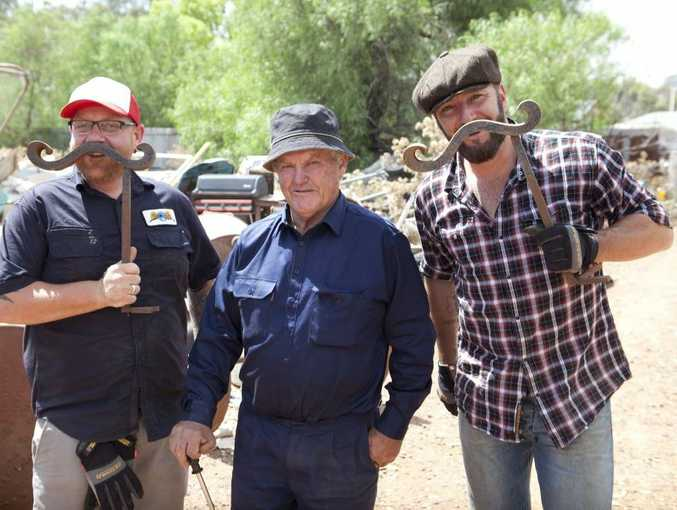 Aussie Pickers hosts Adam McDonald, left, and Lucas Callaghan, right, pictured with collector Jim Crocker in a scene from the show.