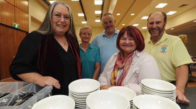 Wendy Bennett of Goldstar Events with Comfort Kitchen volunteers Janet and Robert Newman and Wayne Martin and Neighbourhood Centre principal co-ordinator Joyce Chorny.