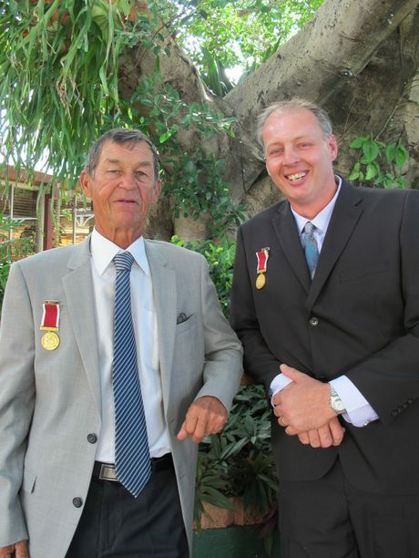 Lowood residents Ernst Gomsi and Raymond Bruckner have been awarded Clarke Bravery Medals for saving two men from flood waters at Lockyer Creek in January, 2011.
