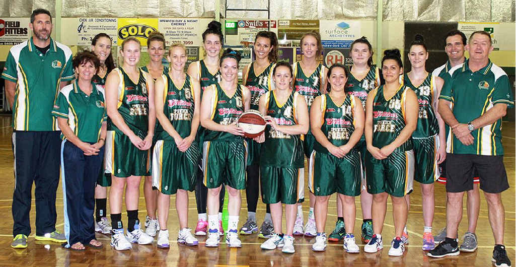 PROMISING LINE-UP: The Ipswich Force women opening their 2013 Queensland Basketball League campaign at the Gold Coast tonight. The players are Courtney Taylor (no 4), Natasha Hasse (no 5), Marney George (no 6), Sherridan Wilson (no 7), Sigourney Thompson (no 8), Peta Eddington (no 9), Stacey Howard (no 10), Emma Langford (no 11), Nadeen Payne (no 12), Rachael Sarra (no 13), Jess Taylor (no 14), Lauren O'Sullivan (no 44), Raihania Ratana (no 55). Meg Essex and Taylah Timperley were absent from the photo. Coach is Brad George, assisted by Dwight Hicks and Terry Lindeberg. Lindy Ralph is manager.