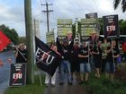 Protesters outside the Queensland Plan Summit in Mackay.