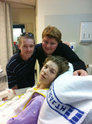 Michael Boggan in hospital with his brother Adam (right) and uncle David. Photo: Contributed