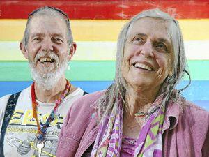 Happy hippy veterans of Aquarius Festival