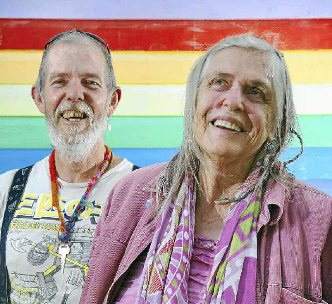 ORIGINALS: Bob Tissot and Katie Cawcutt of Nimbin, both were at the first Aquarius Festival in 1973.