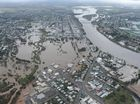 Aerial shot of the Burnett River in flood at Bundaberg. Photo: Alistair Brightman / Fraser Coast Chronicle