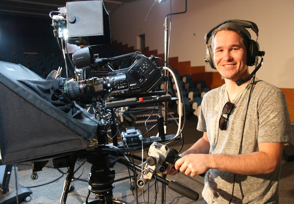 HOOKING UP: Third-year Applied Media USQ student Tyron Gillum on the set of Connected, a new variety television program aimed at connecting south-east Queensland.