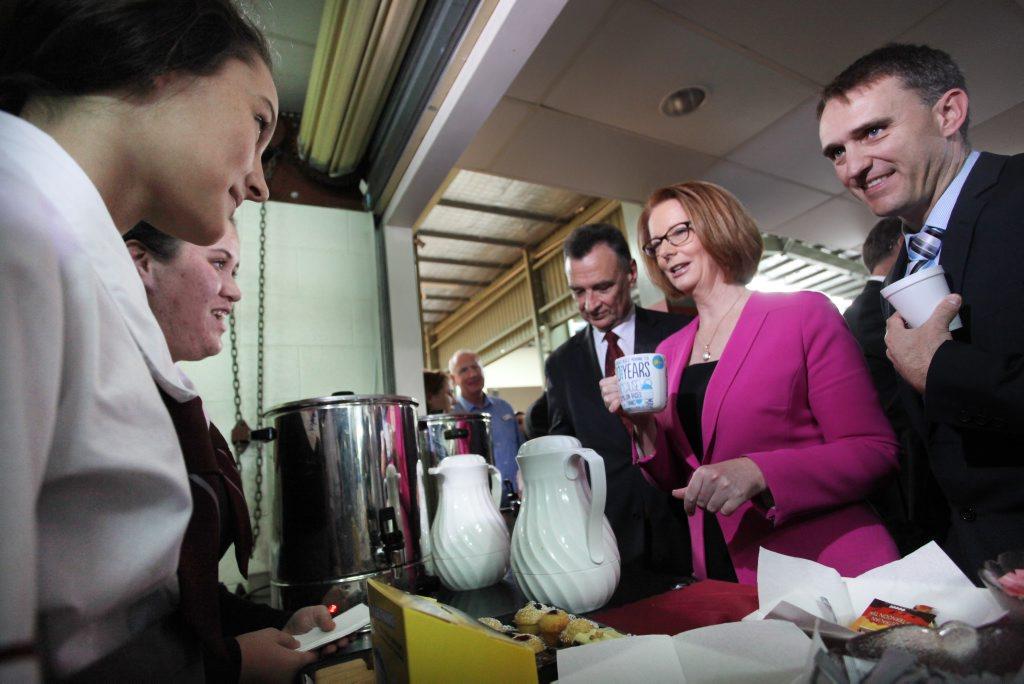 Students at Marsden State High School serving up morning tea for Prime Minister Julia Gillard.
