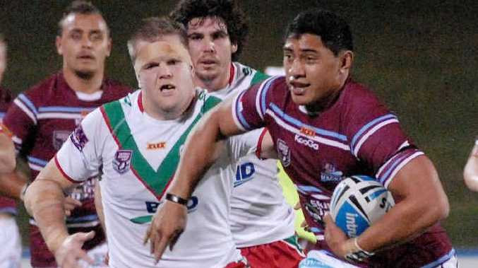 Cutters forward Jason Taumalolo ran the ball up strongly against the Seagulls pack.