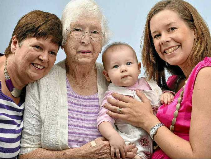 Four generations – grandmother Narelle Haden, great grandmother Daphne Chaplin, and new mum Danielle Miles, with daughter Airlie, eight months – welcome Mother's Day.