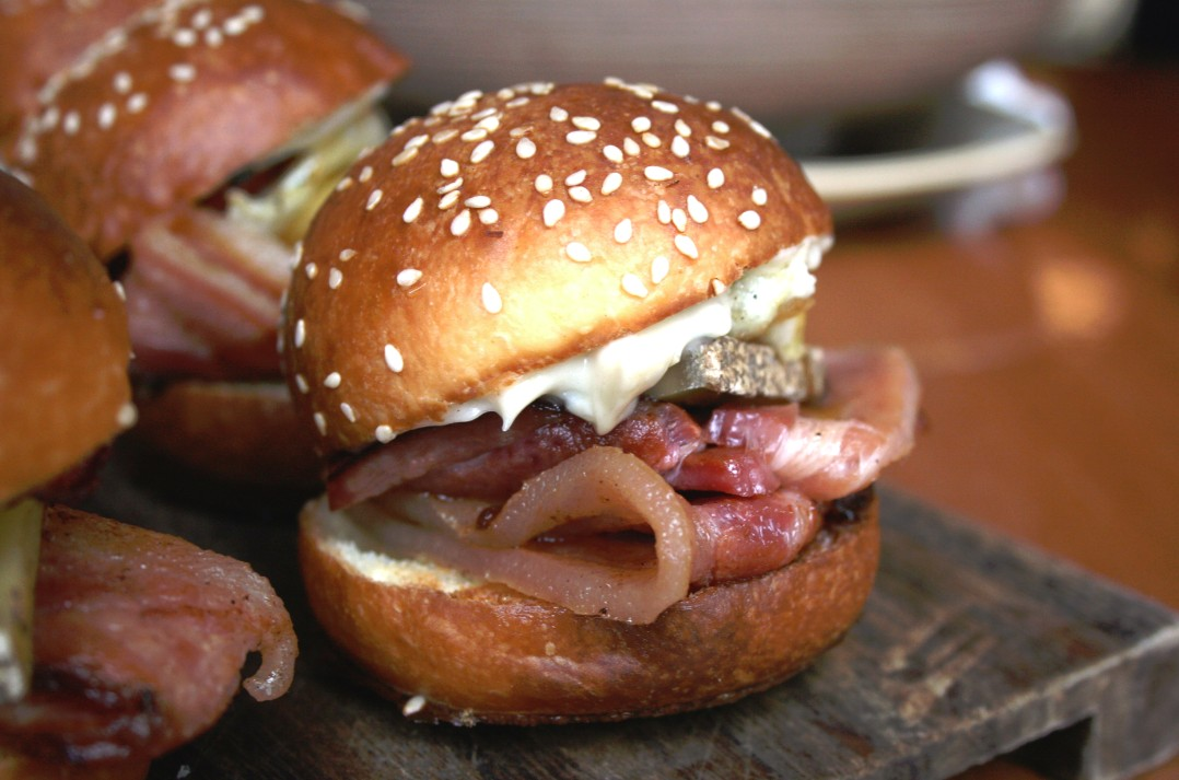 A special slice of Slade Point Meats' bacon has also been used on an indulgent version of the traditional egg and bacon roll by celebrity chef Colin Fassnidge served at 4Fourteen in Surry Hills.