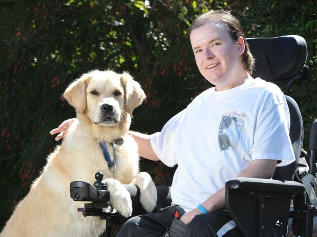 Adam Griffiths suffers from muscular dystrophy but has his companion dog Rocky to help him.