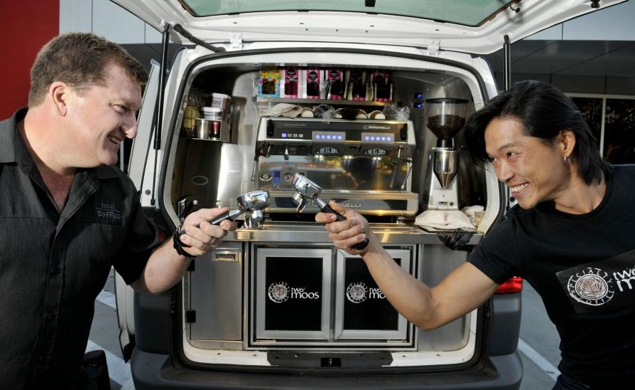 Adan Tully of Total Coffee and Michael Oo from Two Moos Speciality Coffees look forward to hosting a qualifying round of the World Barista Championships in Toowoomba.