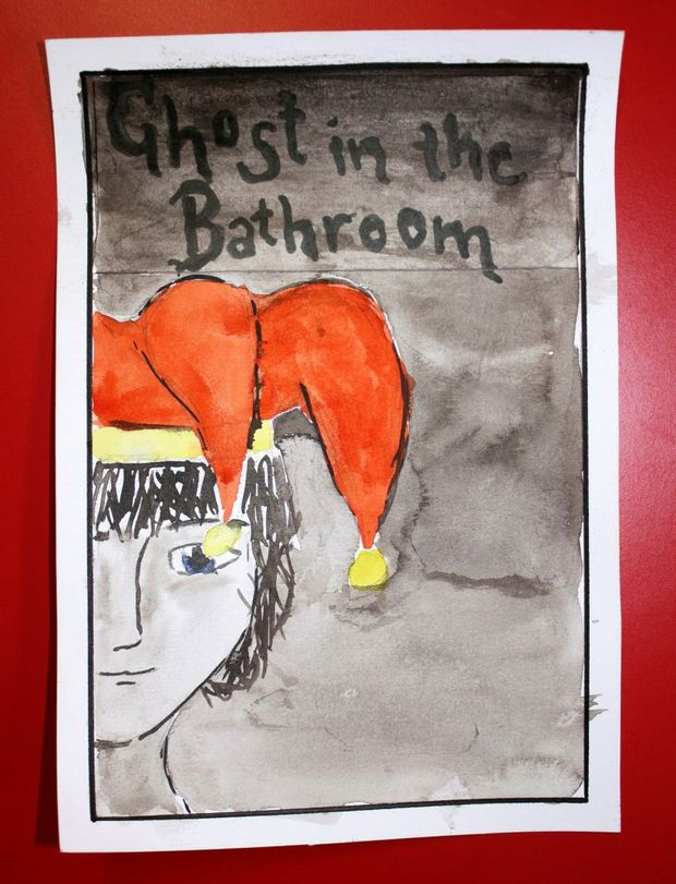 One of the illustrations for A Ghost in the Bathroom.