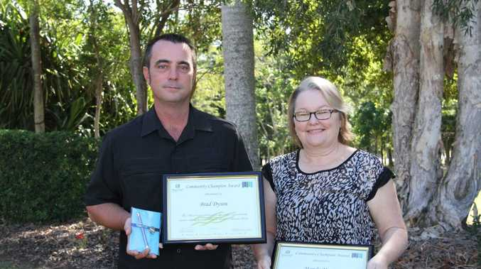 Brad Dyson and Mandy Maurer have been presented the inaugural Community Champion awards by the Fraser Coast Regional Council.