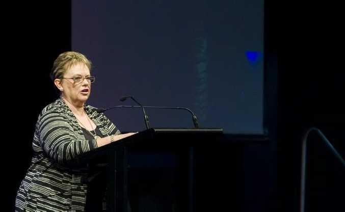 Lindy Chamberlain-Creighton speaking at the Mayoral Prayer Breakfast.