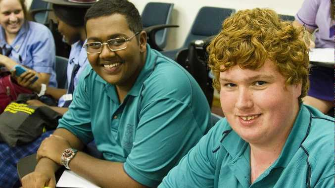 USQ Fraser Coast Head Start students Christopher Sami and Andrew O'Grady participating in Leadership Day activities at USQ earlier this year.