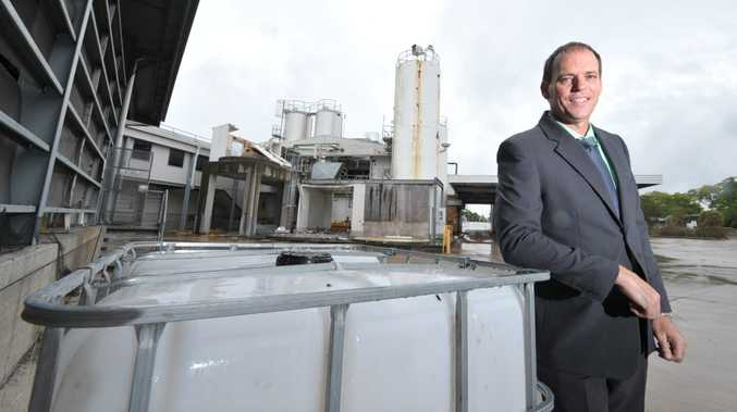 Real Estate Agent Damian McMahon at the former Jacaranda Milk Factory in Booval which is for sale.