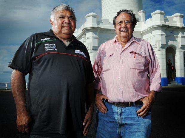 Aboriginal Elders L-R Warren Clark and Roy Kennedy visiting Byron Bay. Photo Patrick Gorbunovs / The Northern Star