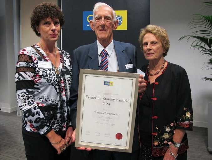 Frederick Sandell with his family, wife Jean and daughter Mirth Fabbro afer receiving a 70 Years of Membership Certificate to the CPA.