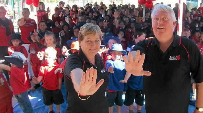 KEEPING KIDS SAFE: Denise and Bruce Morcombe delivered their safety message to students from the Clifton Cluster at the Clifton State Primary School last Wednesday as part of their tour of Darling Downs schools.