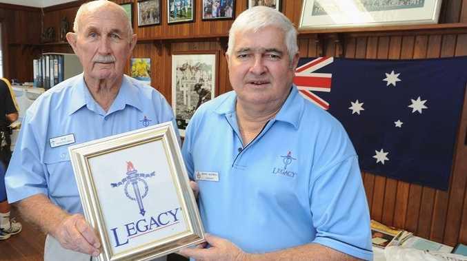 Hervey Bay Legacy group chairman Bob Bleakley and vice-chairman Wayne McDowall are seeking volunteers.
