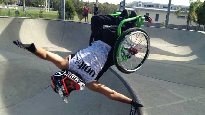 Aaron 'Wheelz' Fotheringham showing off at the Caloundra Skatepark.