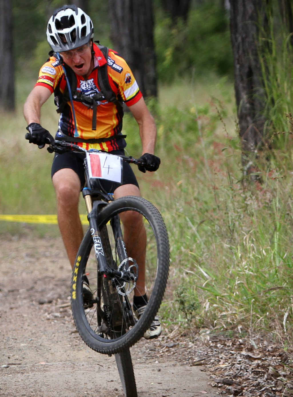 WHEELIE STRONG: Joel Robinson competing in the Rocky MTB 8 Hour XC.