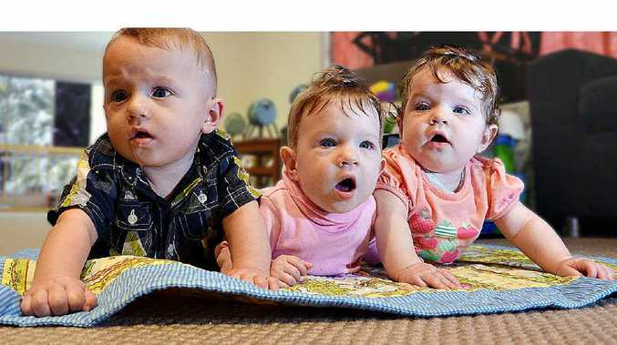 The Blake triplets, Tywin George Geoffrey, Phoenix Arya Jane and Indica Pamela Anne.