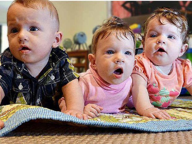 The Blake triplets, Tywin George Geoffrey, Phoenix Arya Jane and Indica Pamela Anne.