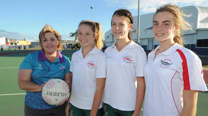 Wide Bay Regional Academy members (L) Soraya Dredge (assistant coach) with Tailah Love, Megan Vivian and Tia Hamlet.