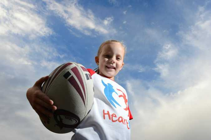Five year old Tenille Beran will run out at Suncorp Stadium on Friday night as part of the HeartKids team in memory of her brother Hayden, who died at nine months olf of congenital heart disease. Photo: Sarah Harvey / The Queensland Times