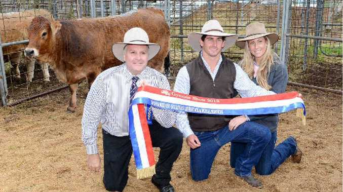 Judge Terry Nolan, Mitch Upton and partner Megan with the Grand Champion Prime Exhibit, a limousin heifer at yesterday's Gympie Show.