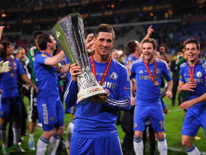 Fernando Torres of Chelsea poses with the trophy during the UEFA Europa League Final between SL Benfica and Chelsea FC at Amsterdam Arena on May 15, 2013 in Amsterdam, Netherlands.
