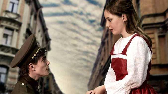 TOUCHING MOMENT: Daryan Butler, as Josef Ivanov, and Brittney Kahl as Hannah Quinn in The Russian Lieutenant.