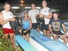 The Mooloolaba Outrigger Canoe Club novice men's crew of Shon Siemonek, Dean Blake, Charles Wyllie, Brady Lee and Ray Weiss.