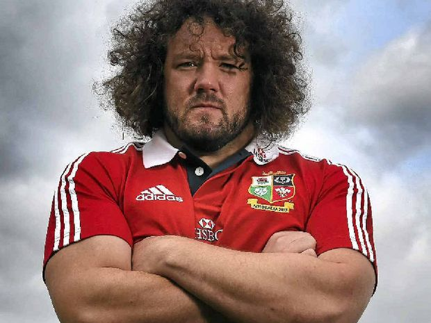 One of the British and Irish Lions, Adam Jones, cuts an imposing figure at a media day in London this week.